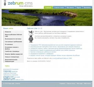 Бесплатный шаблон для Zebrum Lite для сайта любой тематики
