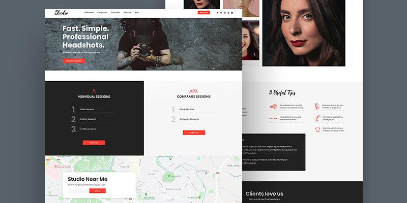 Шаблон сайта фотостудии бесплатно (PSD макет)